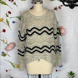 Fate metallic open knit chevron hi low sweater